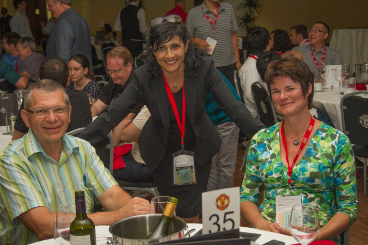 Professor Jacques Huot, Dr Sabrina Sartori and Professor Astrid Pundt at the MH2014 conference dinner